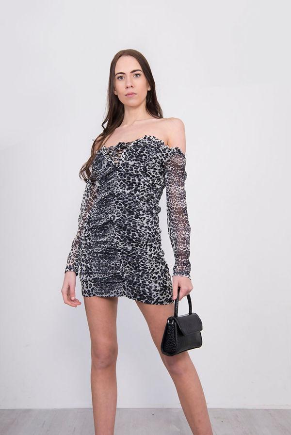 Grey Leopard Print Lace Up Ruched Bardot Dress
