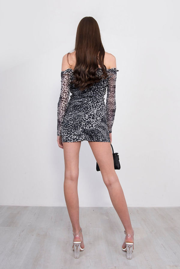 Tan Leopard Print Lace Up Ruched Bardot Dress