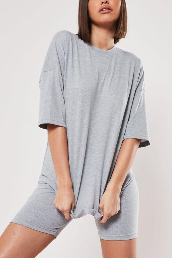 Grey Long T-shirt and Cycling Shorts Set