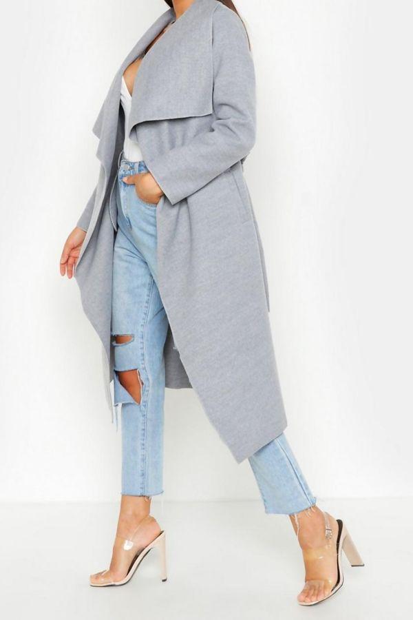 Grey Long Waterfall Duster Coat