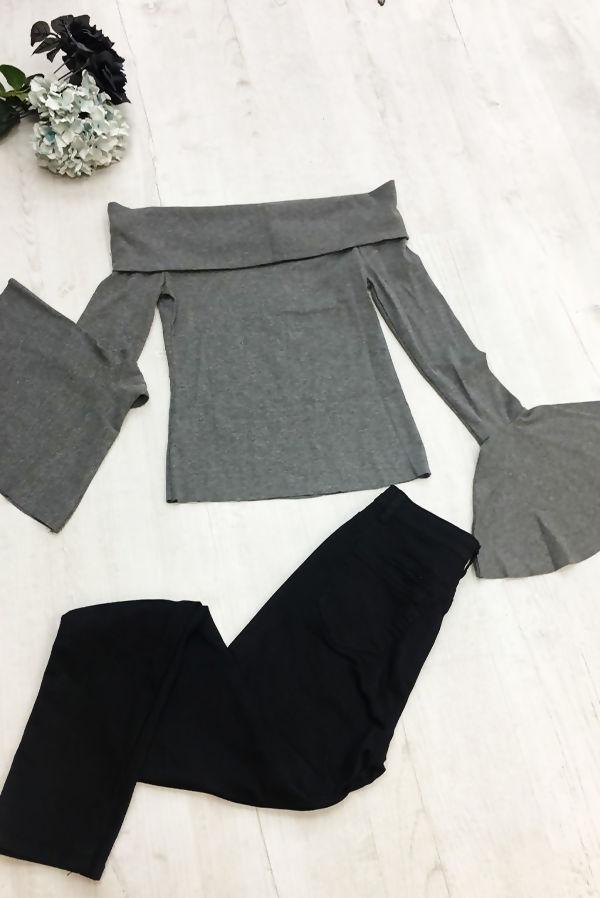 Grey Off Shoulder Flare Sleeve Top