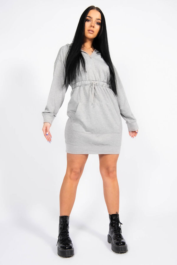 Grey Pocket Detail Tie Waist Sweater Dress