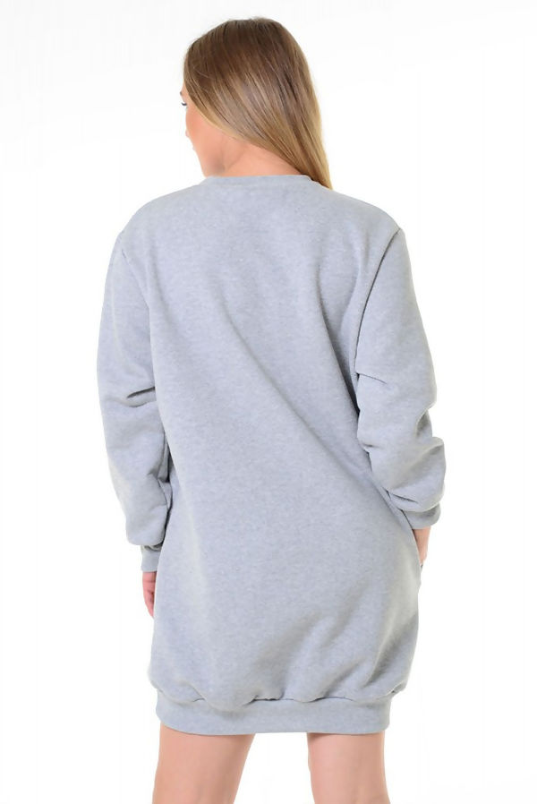Grey Prosecco Pocket Detail Christmas Sweat Dress