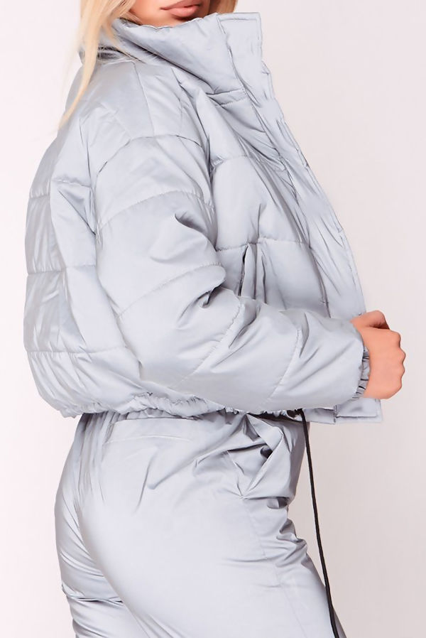 Grey Reflective Puffer Cropped Jacket