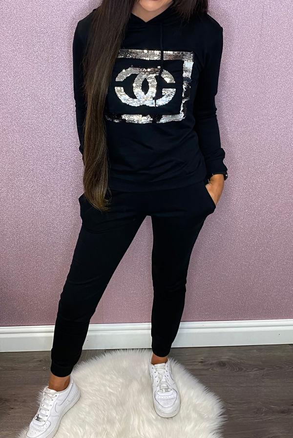 Black Sequin CG Hooded Loungewear Set