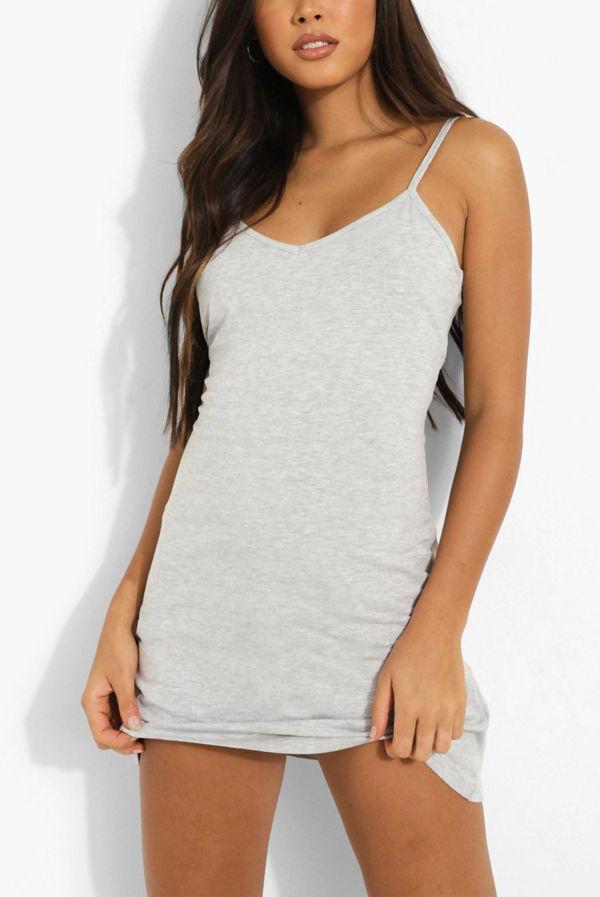 Grey Strappy Detail Backless Cami Dress
