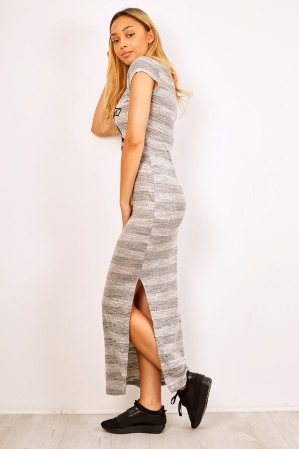 Grey Striped Hot 56 Maxi Dress