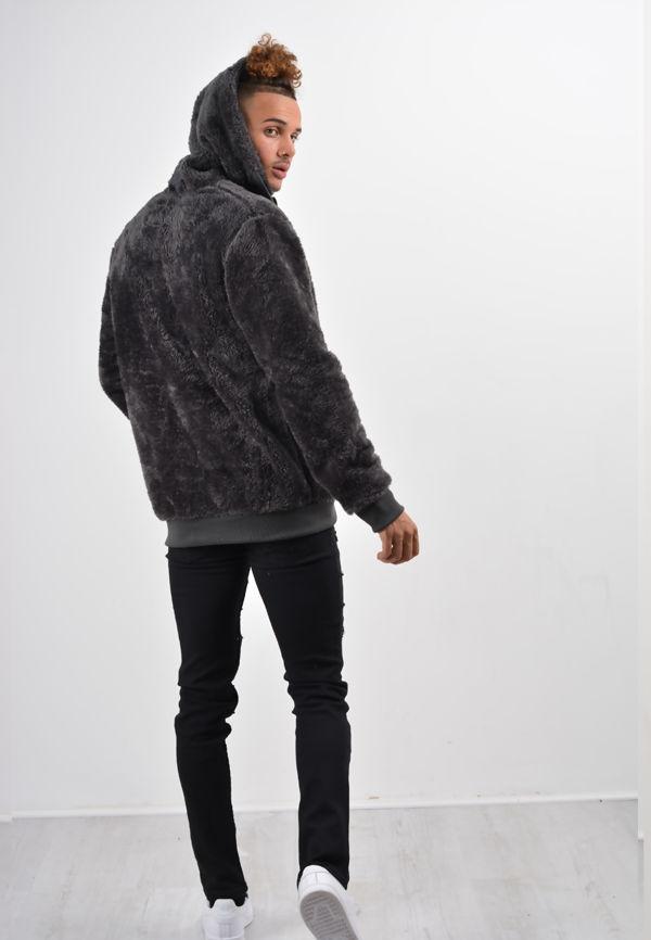 Grey Teddy Faux Fur Hood Jacket