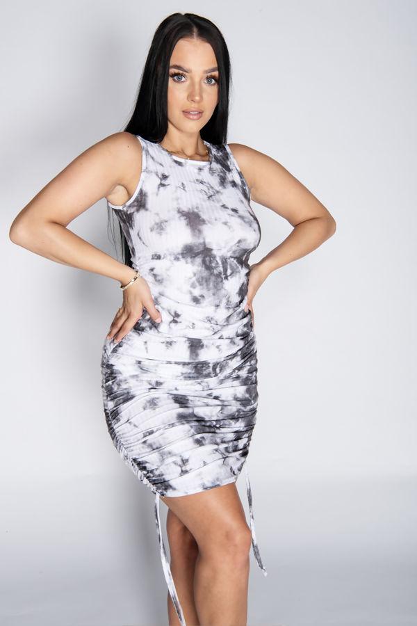 Grey Tie Dye Ruched Bodycon Dress