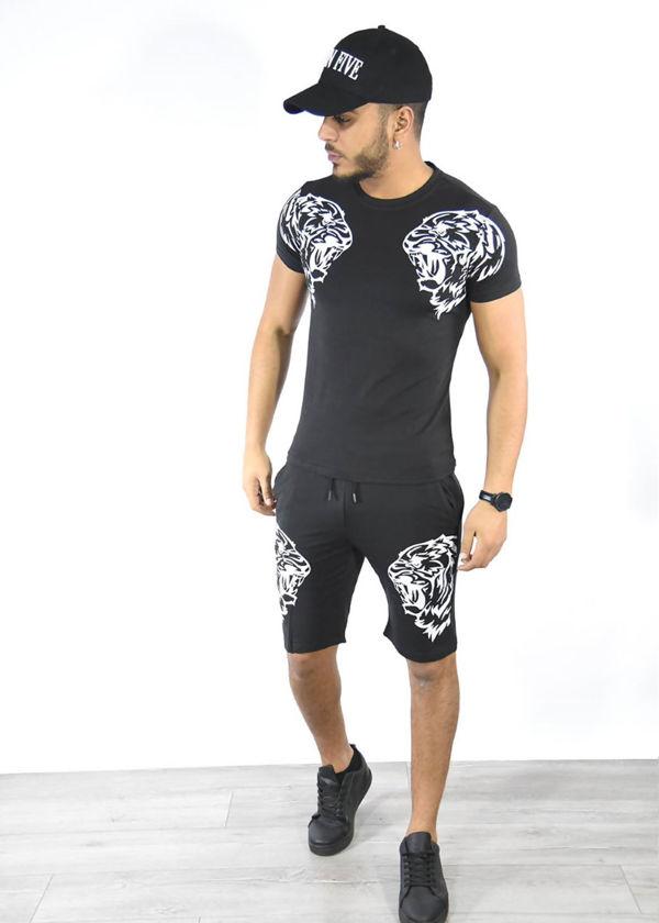 Grey Tiger Logo Shorts and Tee Set