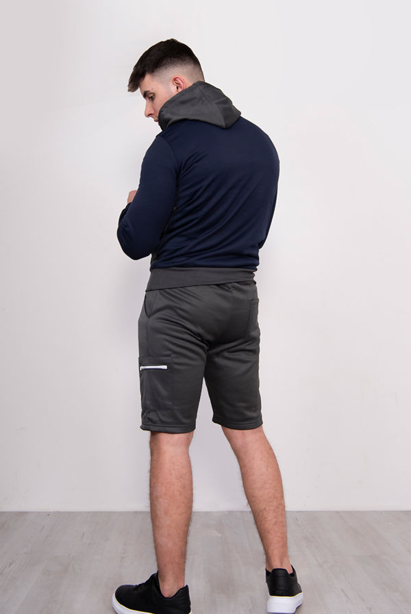 Grey Two Tone Half Zip Hooded Short Set