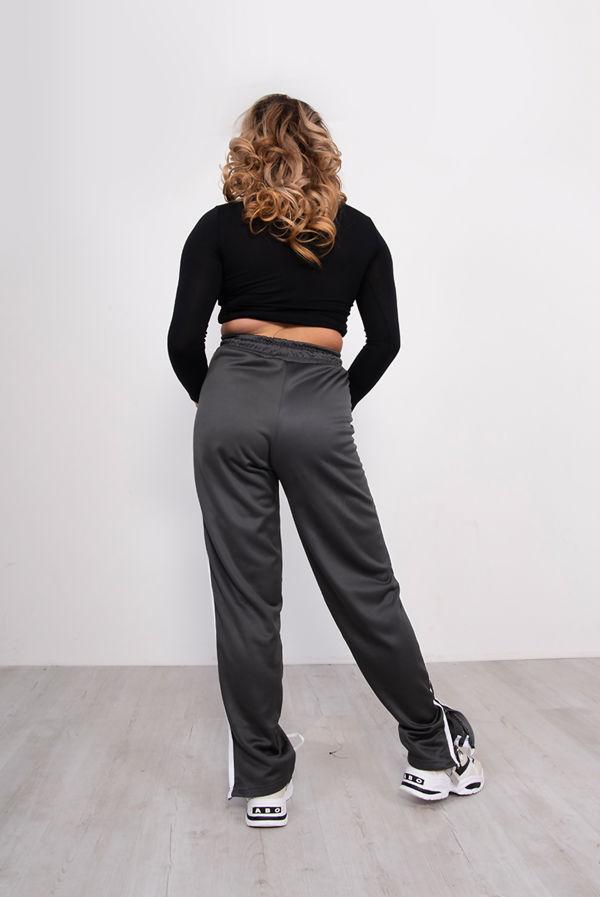 Grey Zip Side Stripe Wide Leg Joggers