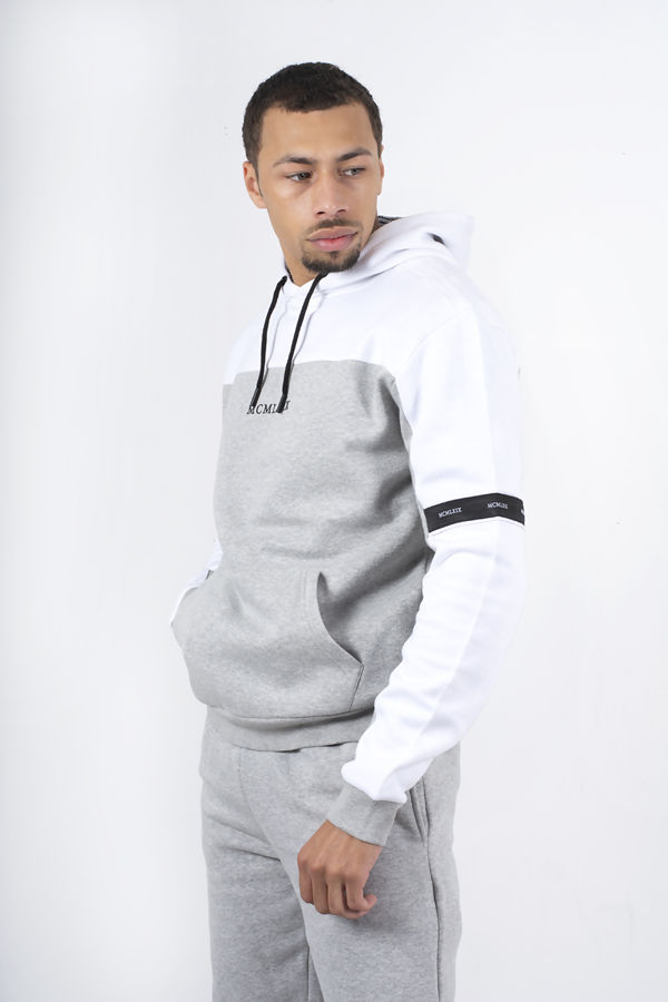 White And Grey Colourblock Overhead Hoodie