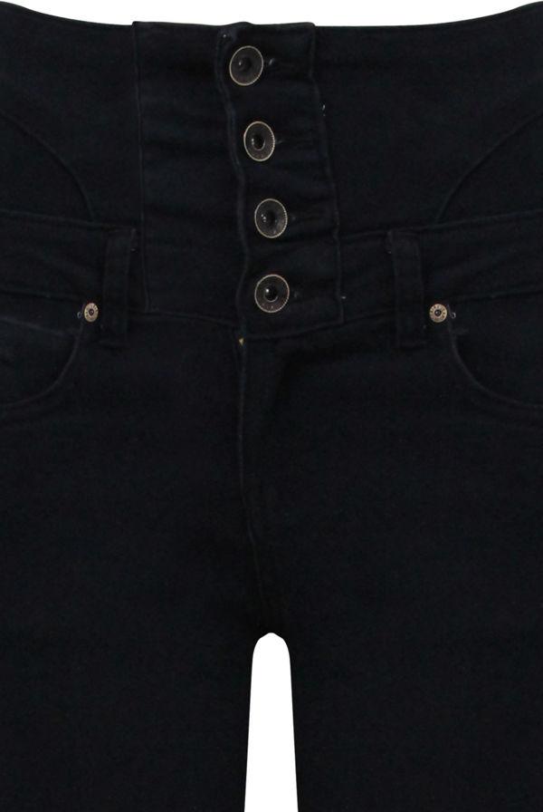 Button Up Corset Waist Black Skinny Jeans