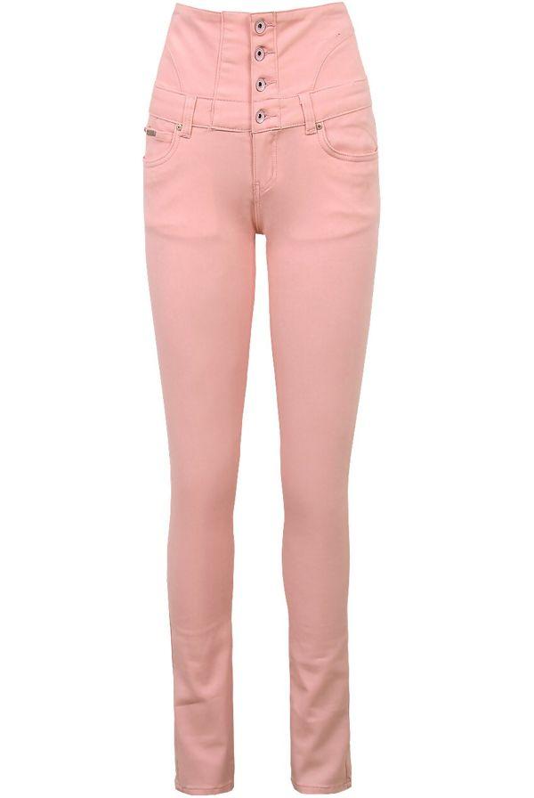 Button Up Corset Waist Peach Skinny Jeans