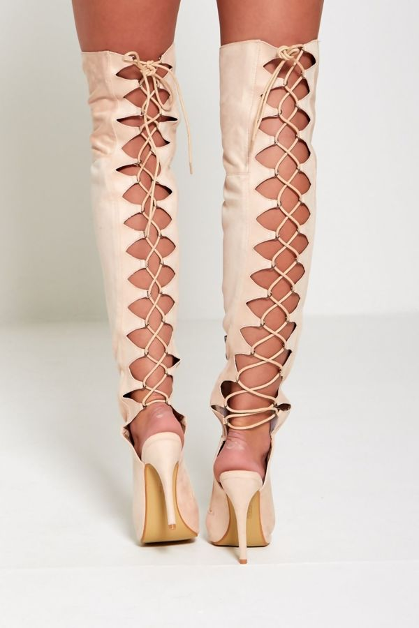 High Lace Up Over the Knee Boots