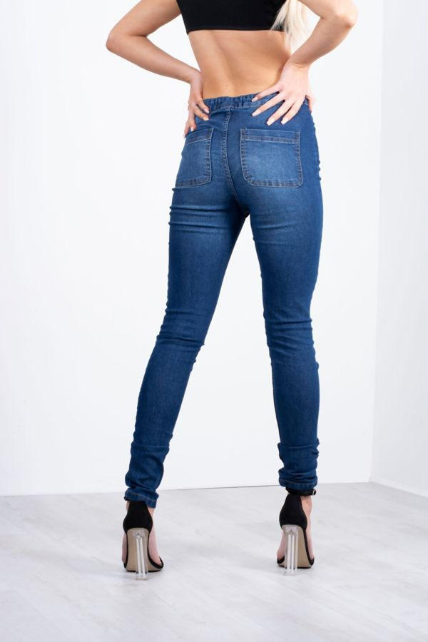 High Rise One Button Skinny Jeans