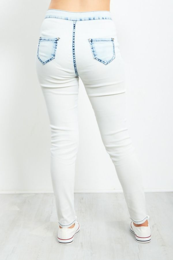 High Rise Washed Tube Jeans