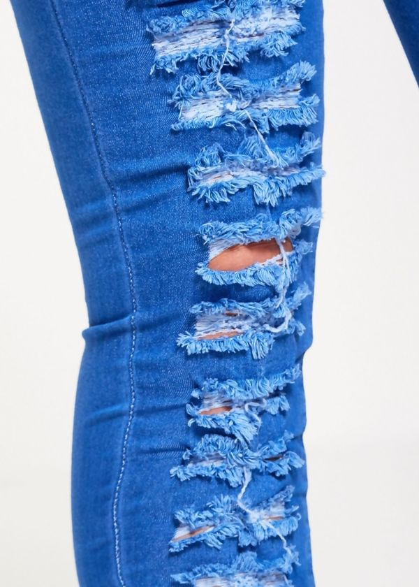 High Waist Extreme Ripped Skinny Jeans