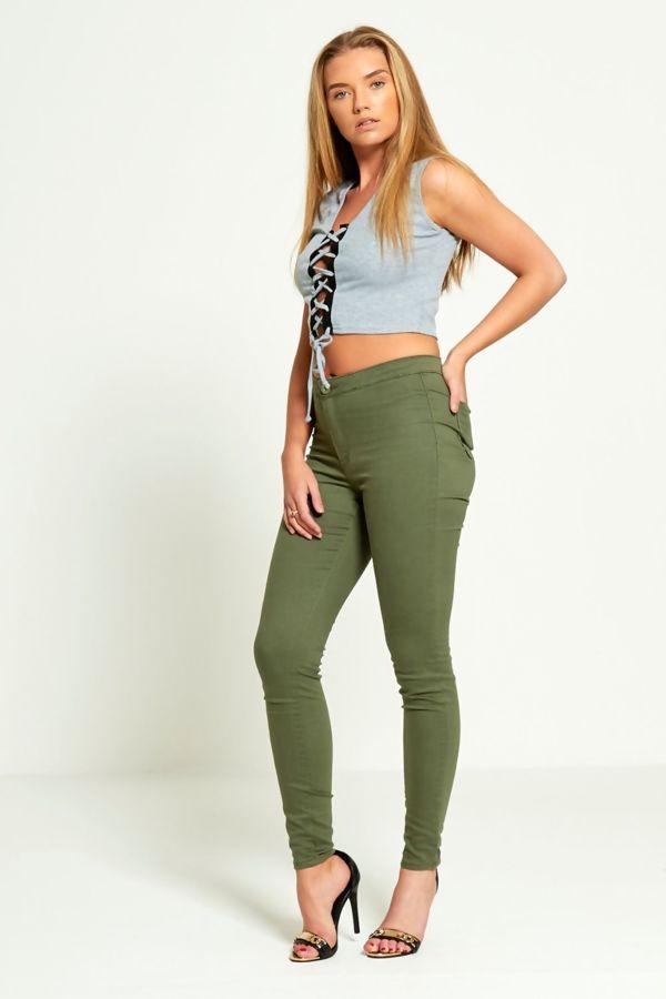 High Waisted Khaki Skinny Jeans