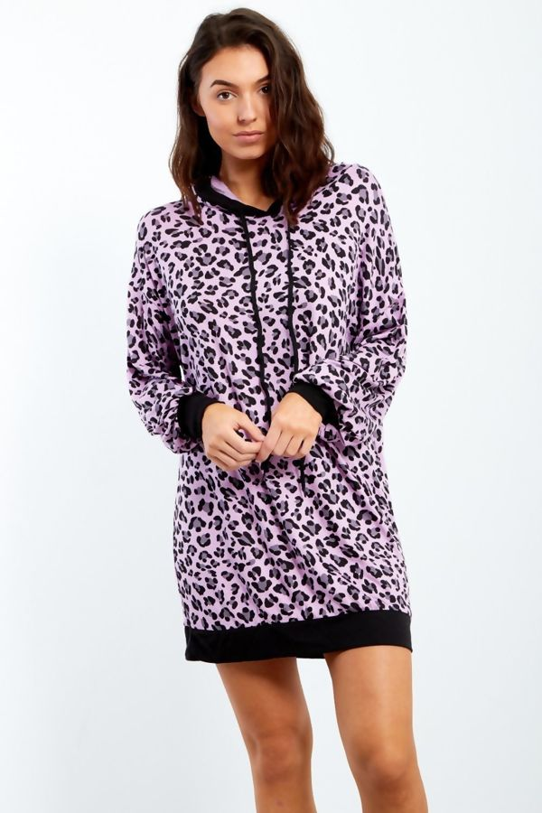 Brown Geometric Print Hooded Jumper Dress