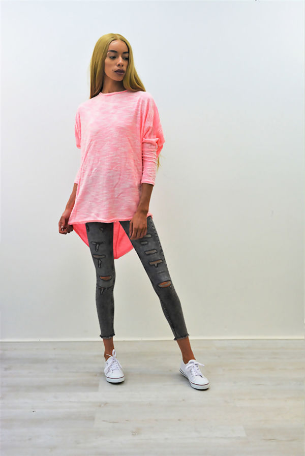 Hot Pink Textured Dip Hem Batwing Top