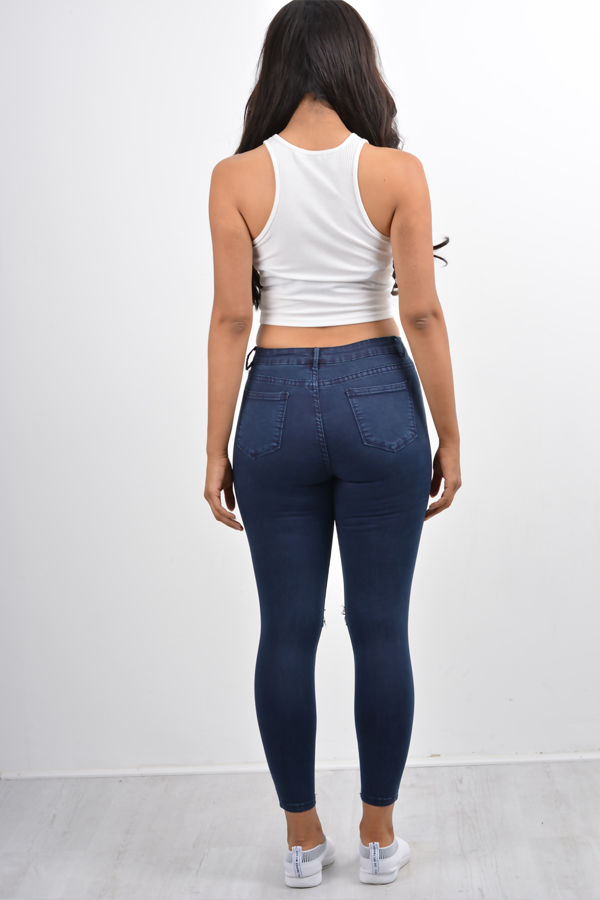 High Waisted Ripped Knee Skinny Jeans