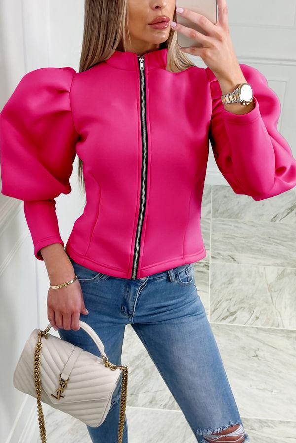 Hot Pink Puff Sleeve Zip Up Jacket