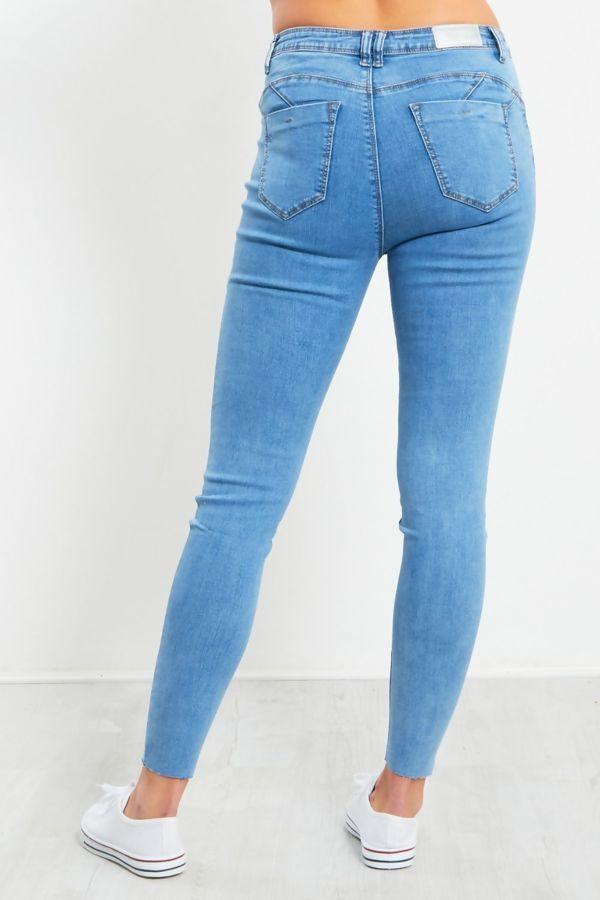 Ice Blue Cut Hem Skinny Jeans
