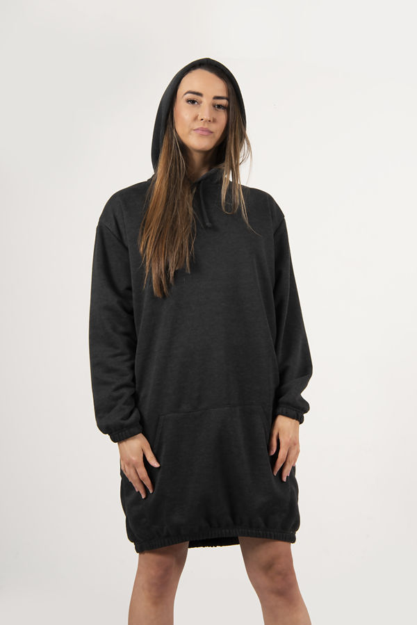 Charcoal Slouchy Pocket Hooded Sweat Dress