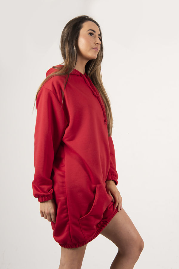 Red Slouchy Pocket Hooded Sweat Dress