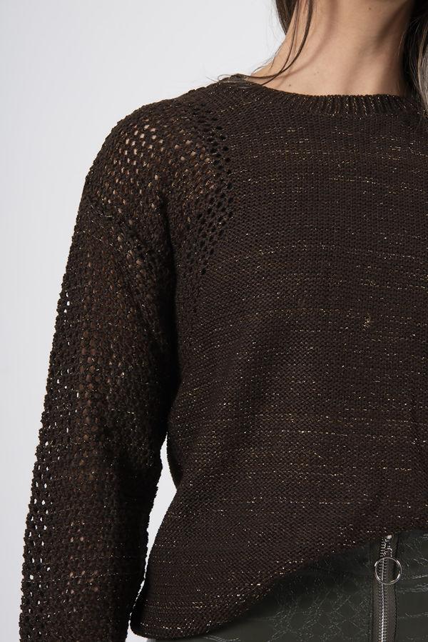 Brown Glitter Peephole Detail Jumper