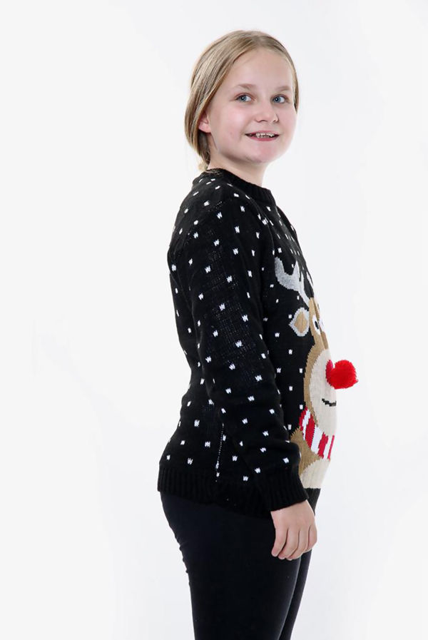 Black Kids Pom Rudolph Christmas Jumper