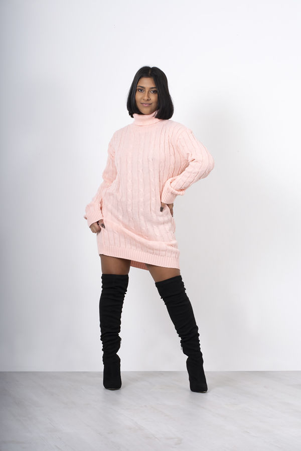 Dusty Cable Knit Roll Neck Jumper Dress