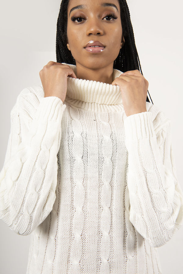 Cream Cable Knit Roll Neck Jumper Dress