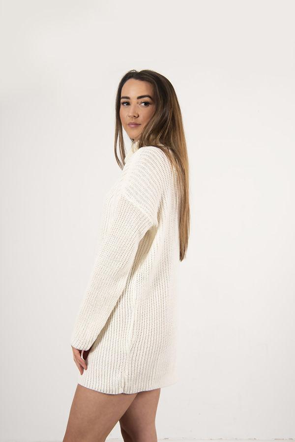 Cream Roll Neck Knitted Jumper Dress