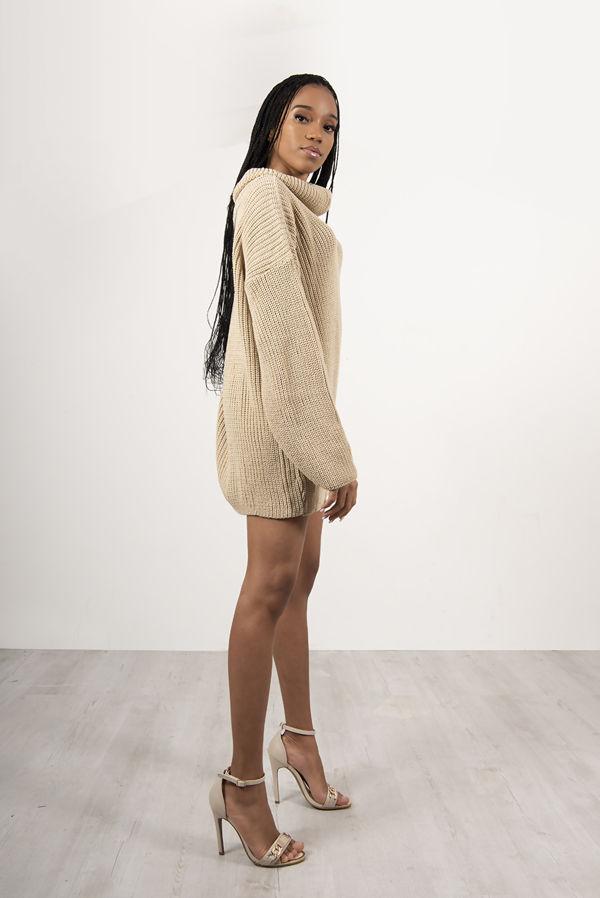 Beige Roll Neck Knitted Jumper Dress