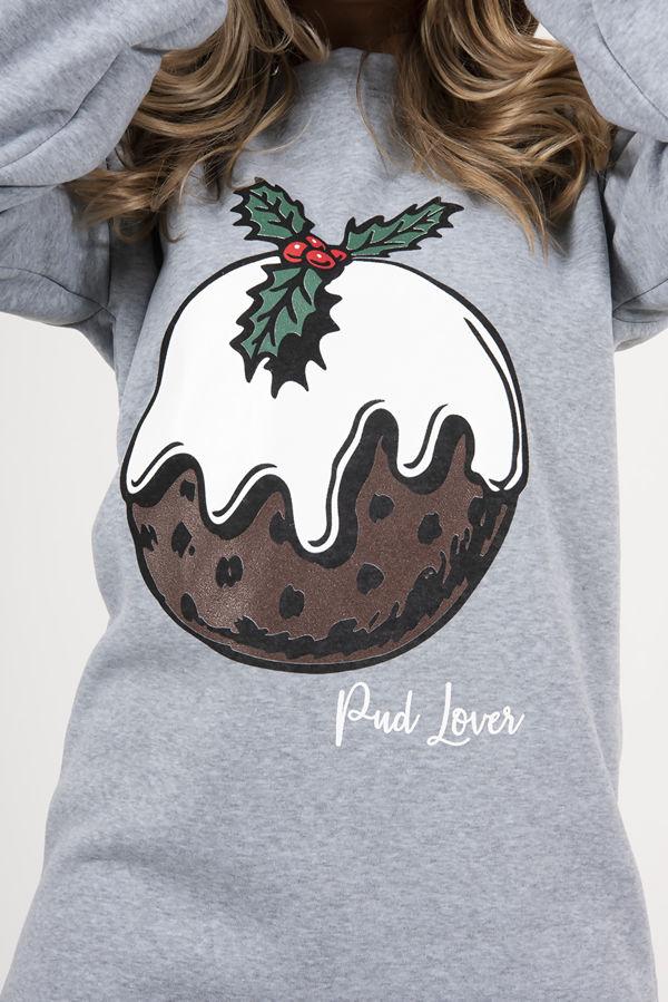 Grey Pud Lover Printed Oversized Christmas Jumper