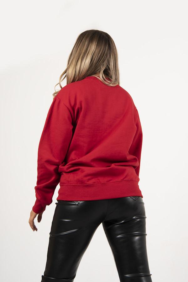 Red Novelty Glitter Reindeer Christmas Sweatshirt