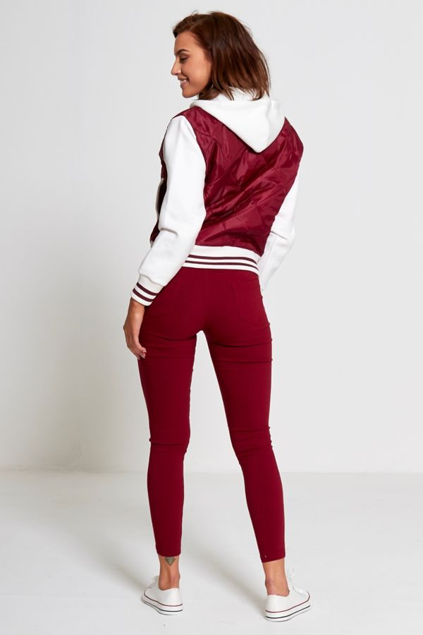 Wine Quilted Bomber Varsity Jacket