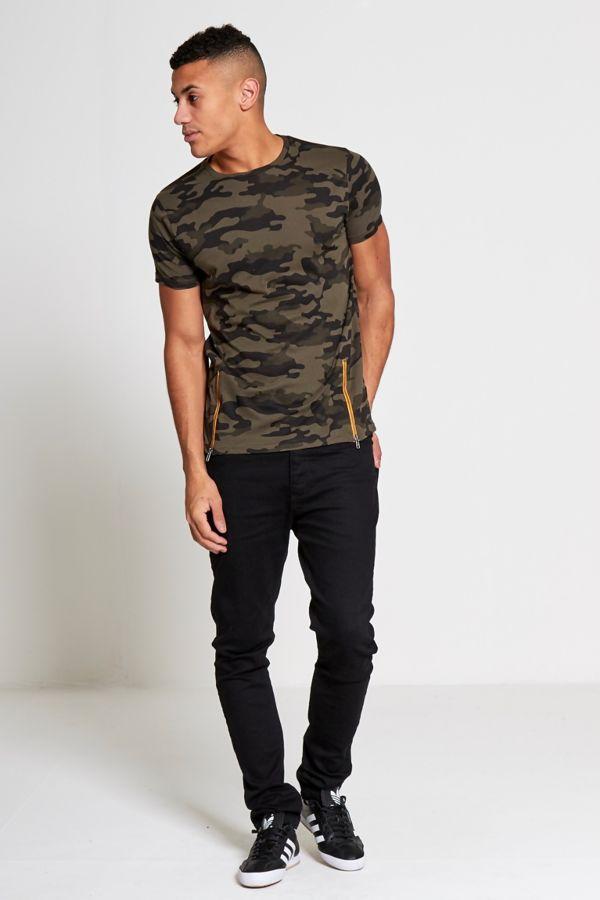 Khaki Camo Zipper T-Shirt