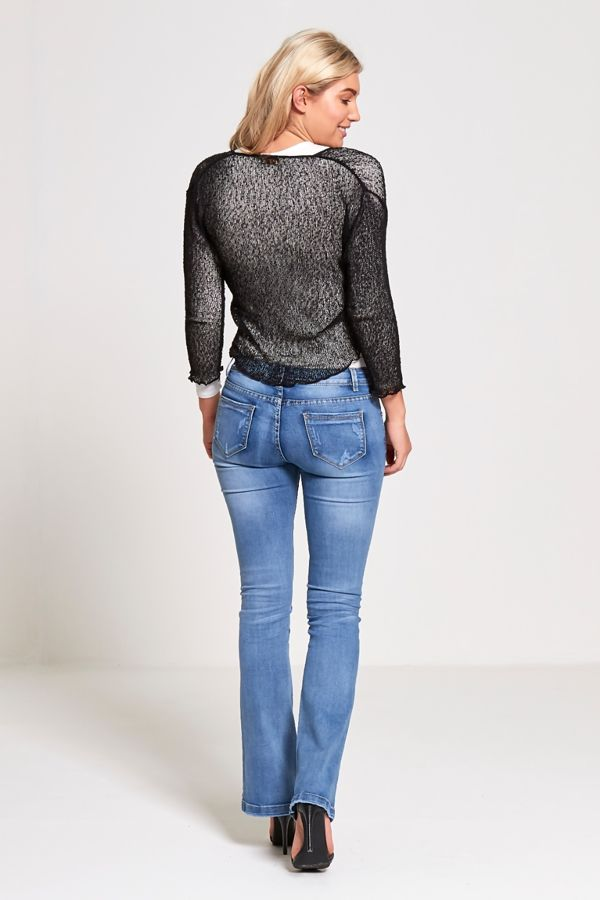 Black Knotted Tie-Up Shrug