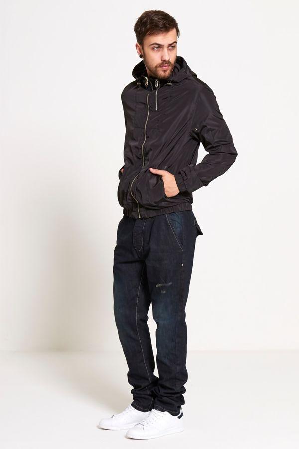 Black Zip Detail Hooded Cagoule Jacket
