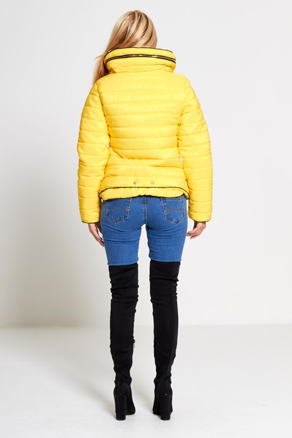Plus Size Yellow Quilted Padded Puffer Fur Collar Jacket
