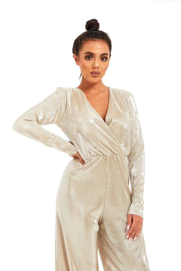Stone Cross Over Shiny Pleated Jumpsuit
