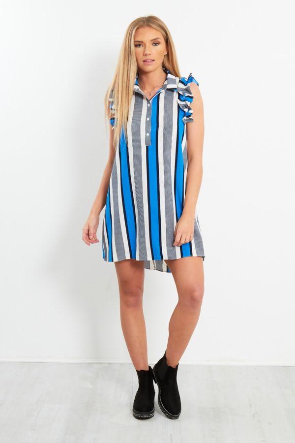 Blue Striped Frill Sleeve Shirt Dress
