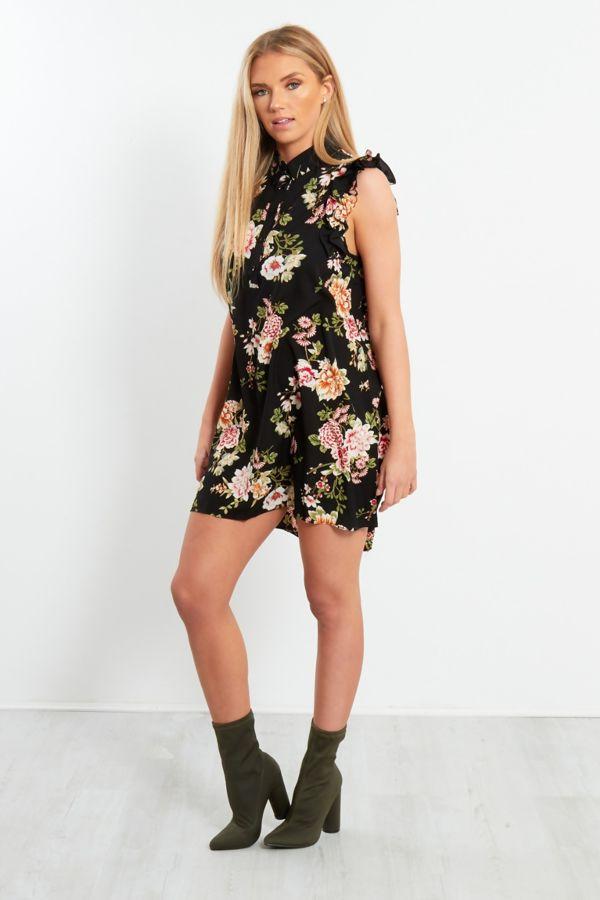 Floral Frill Shirt Dress