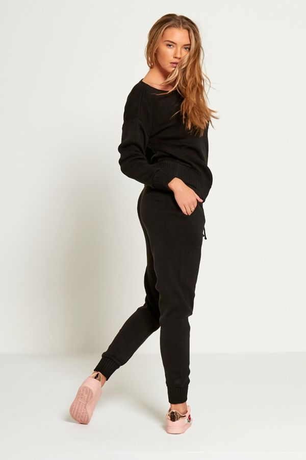 Black Knitted Lounge Wear Set