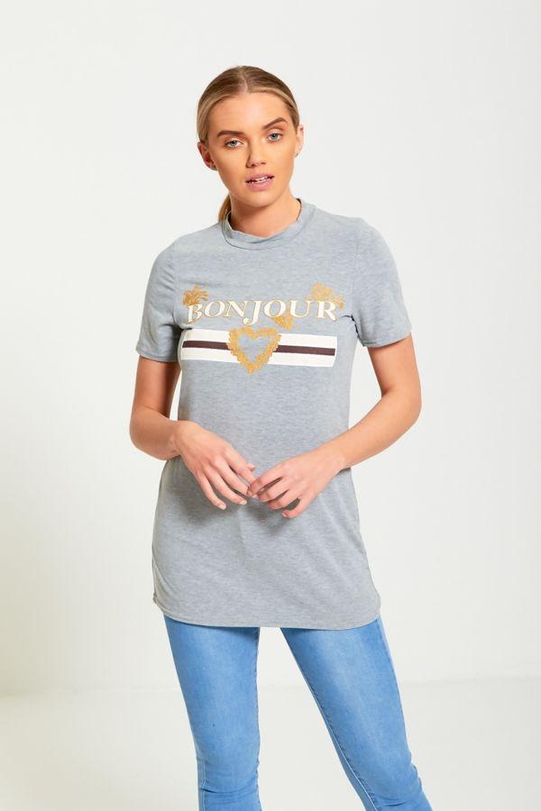 Plus Size Grey Bonjour Love T-Shirt