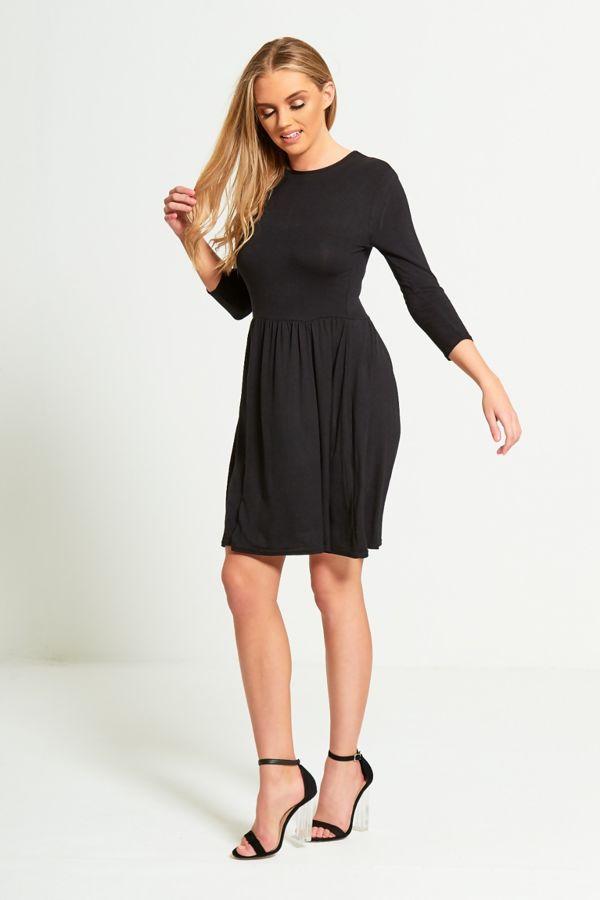 Plus Size Black Plain Basic Skater Mini Dress